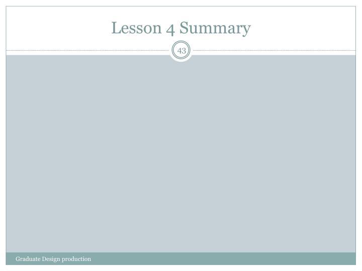 Lesson 4 Summary