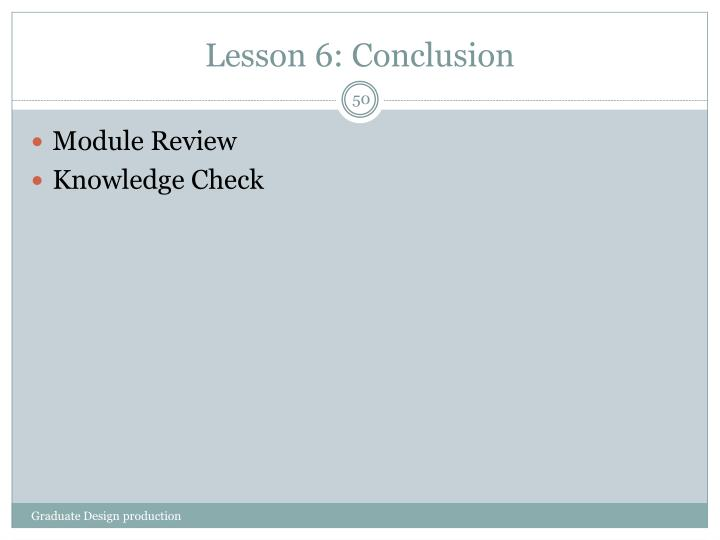 Lesson 6: Conclusion