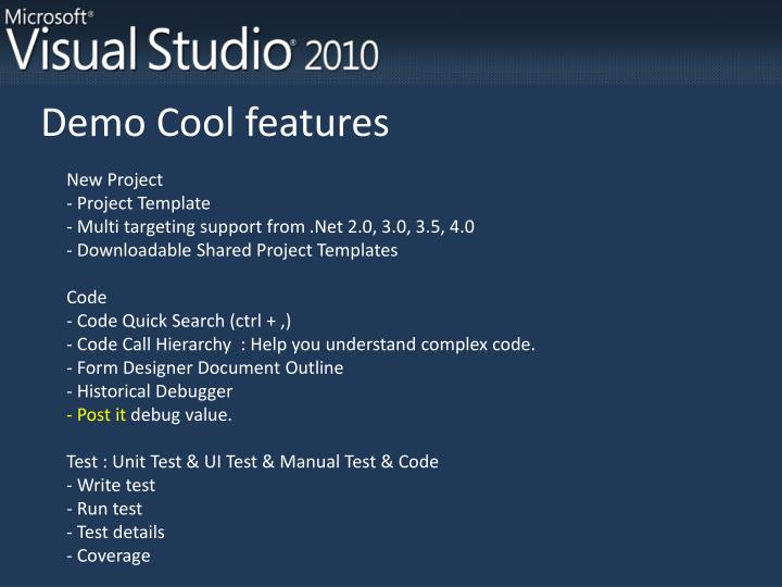 Demo Cool features