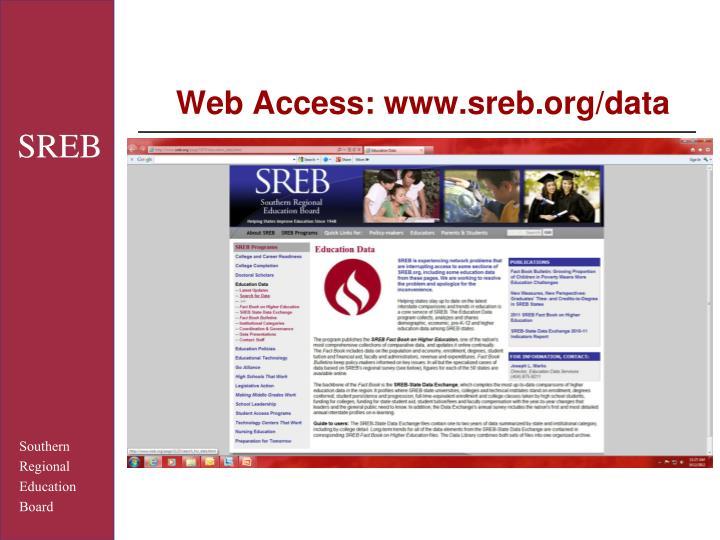 Web Access: www.sreb.org/data