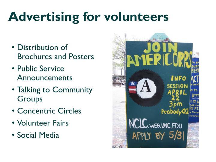 Advertising for volunteers