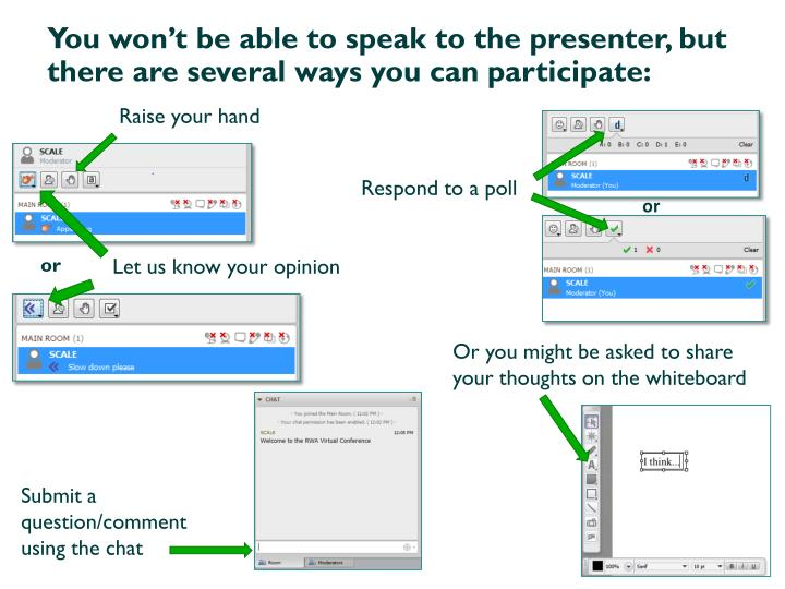 You won't be able to speak to the presenter, but there are several ways you can participate: