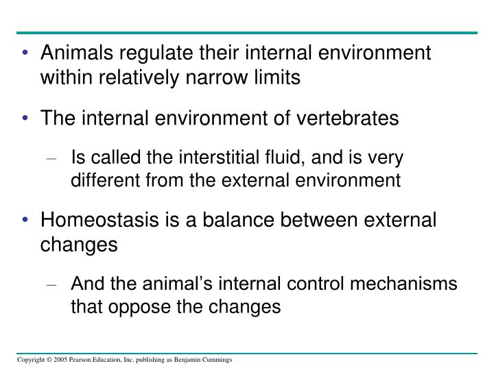 Animals regulate their internal environment within relatively narrow limits