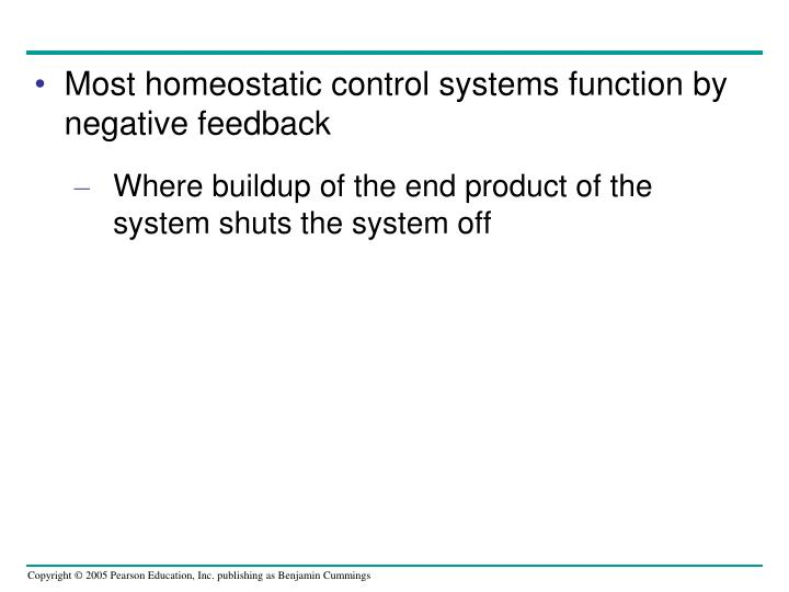 Most homeostatic control systems function by negative feedback