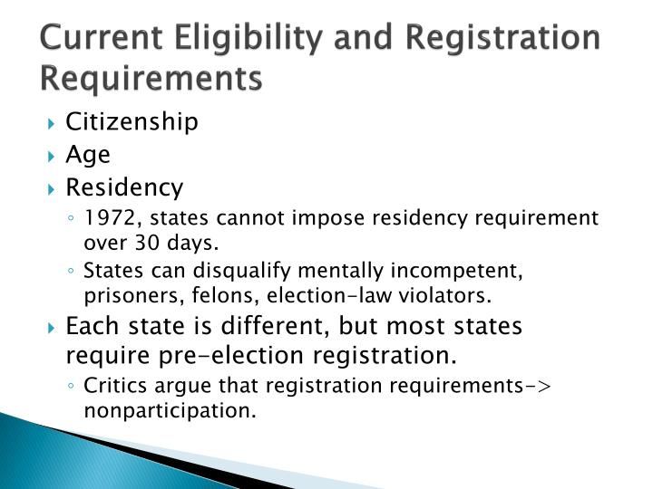 Current Eligibility and Registration Requirements