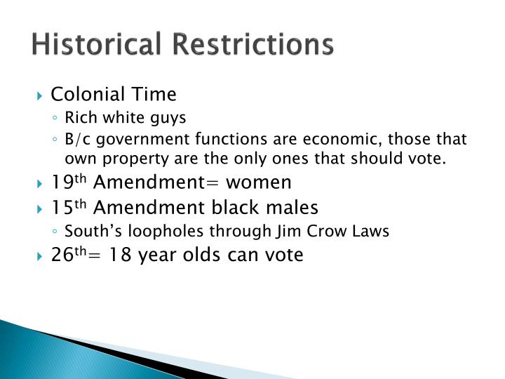 Historical Restrictions