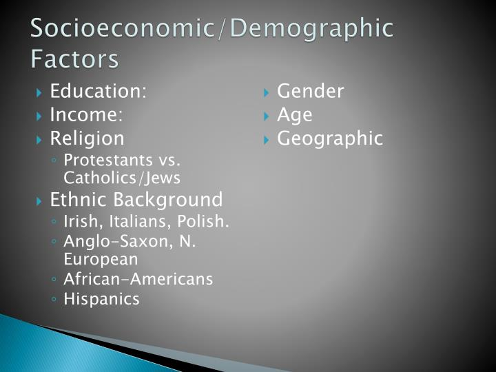 Socioeconomic/Demographic Factors