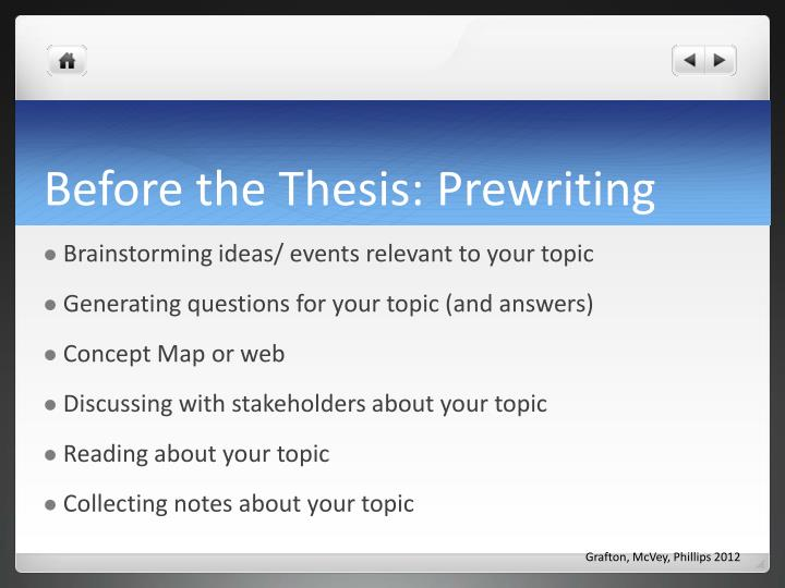 Before the Thesis: Prewriting