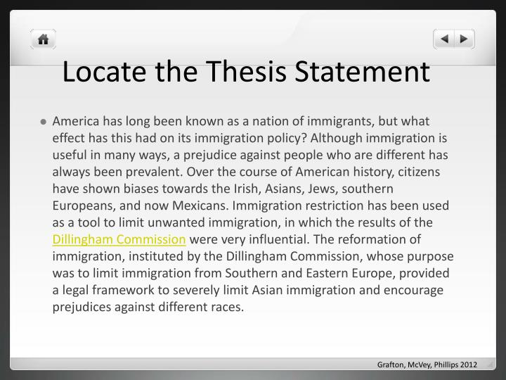 Locate the Thesis Statement