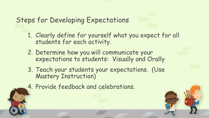 Steps for Developing Expectations