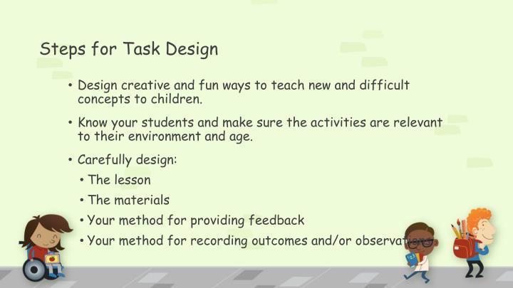 Steps for Task Design
