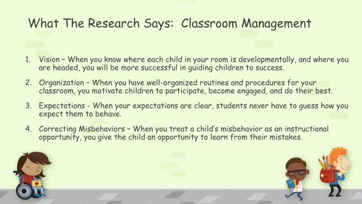 What The Research Says:  Classroom Management