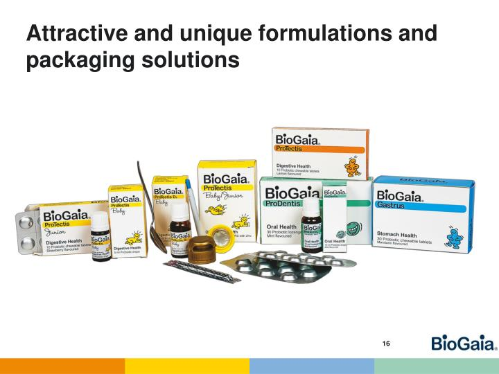 Attractive and unique formulations and packaging solutions