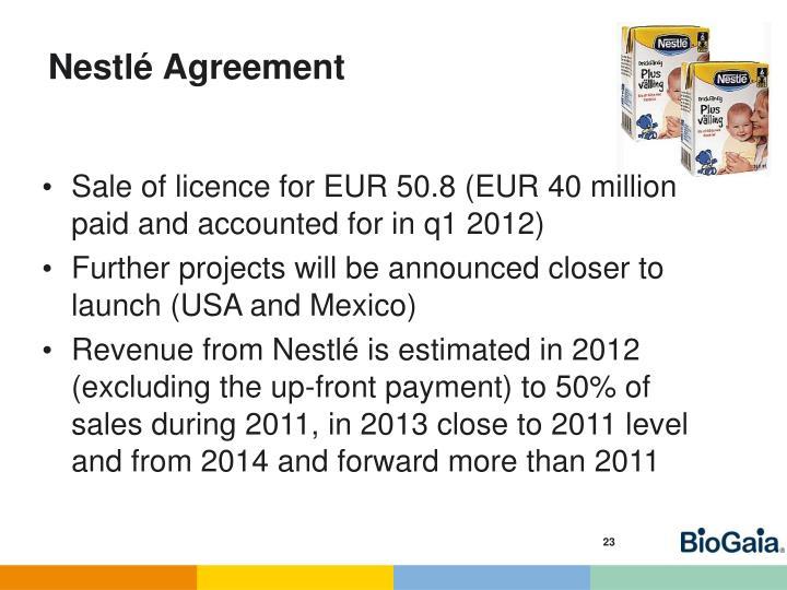 Nestlé Agreement
