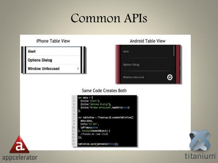 Common APIs