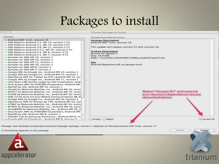 Packages to install