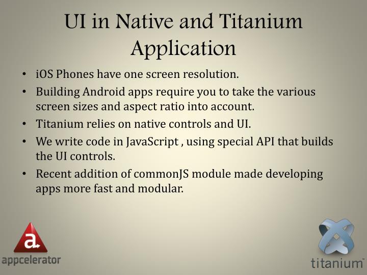 UI in Native and Titanium Application
