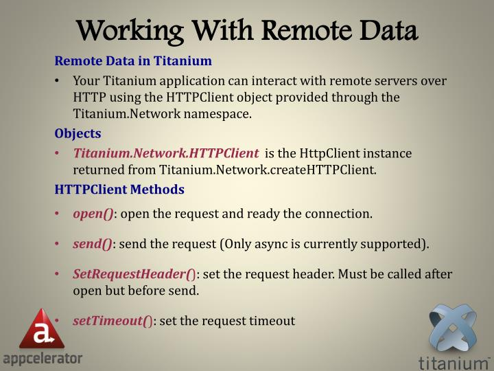 Working With Remote Data