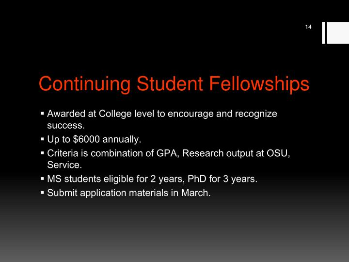 Continuing Student Fellowships