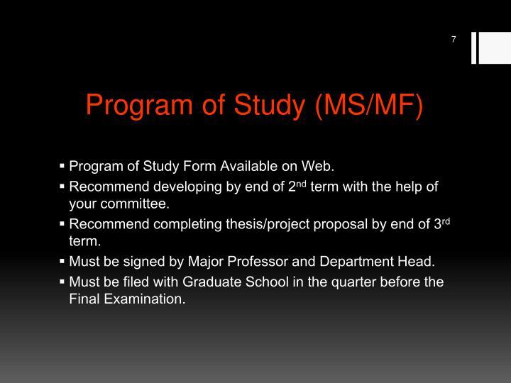 Program of Study (MS/MF)
