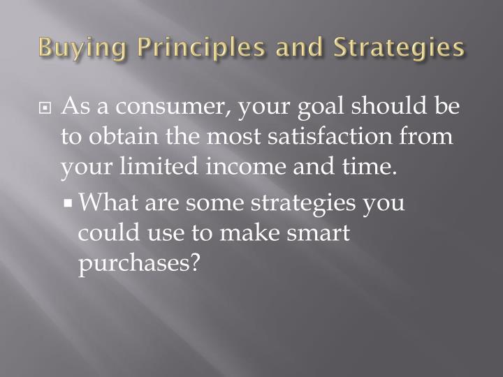 Buying Principles and Strategies