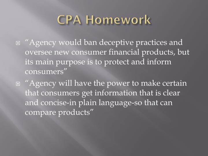 CPA Homework