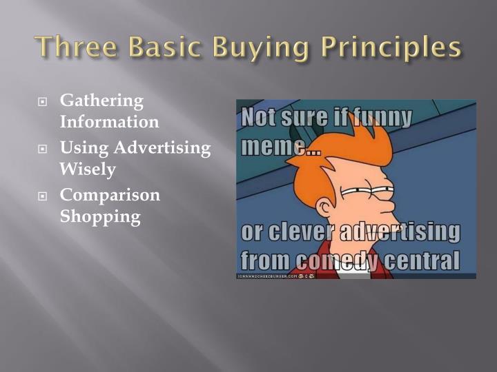 Three Basic Buying Principles