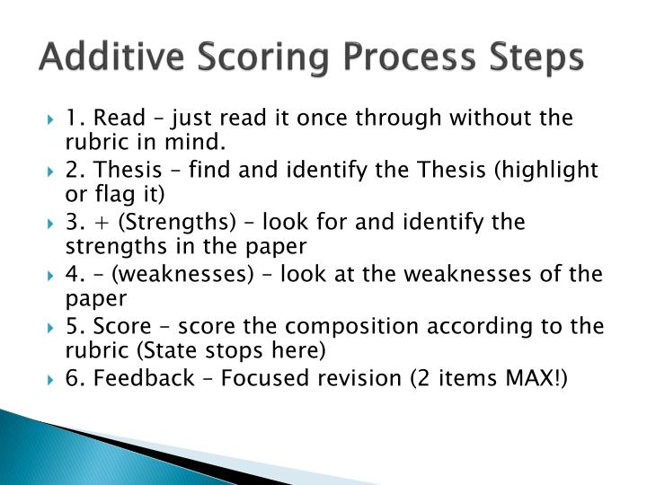 Additive Scoring Process Steps