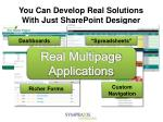 you can develop real solutions with just sharepoint designer