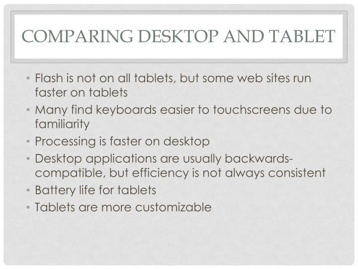 Comparing Desktop and Tablet