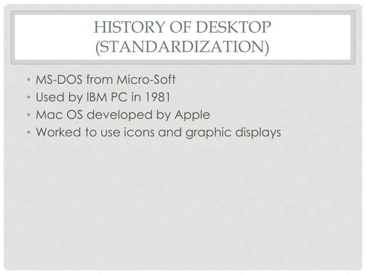 History of Desktop (Standardization)