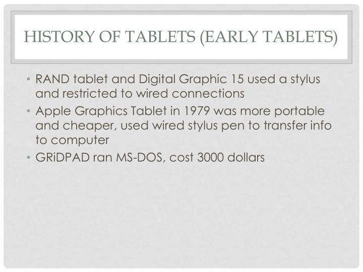 History of Tablets (Early tablets)