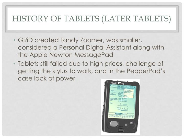 History of Tablets (Later tablets)