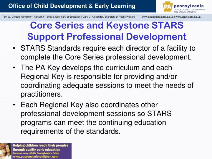 Core Series and Keystone STARS Support Professional Development