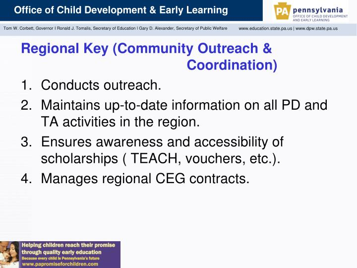 Regional Key (Community Outreach & 					      Coordination)