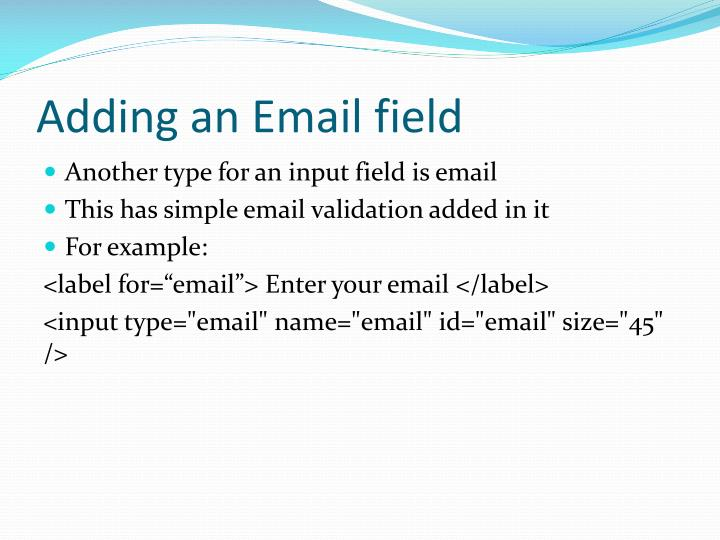 Adding an Email field