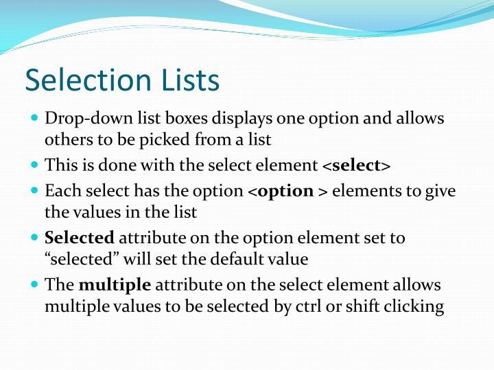 Selection Lists
