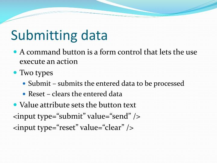 Submitting data