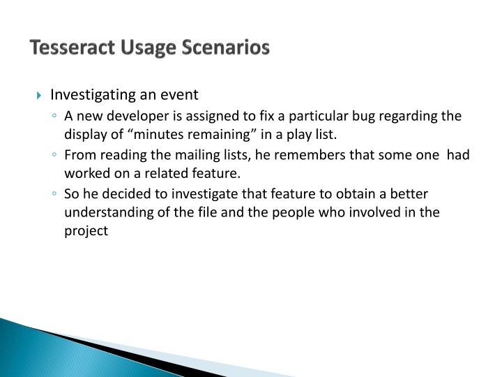 Tesseract Usage Scenarios