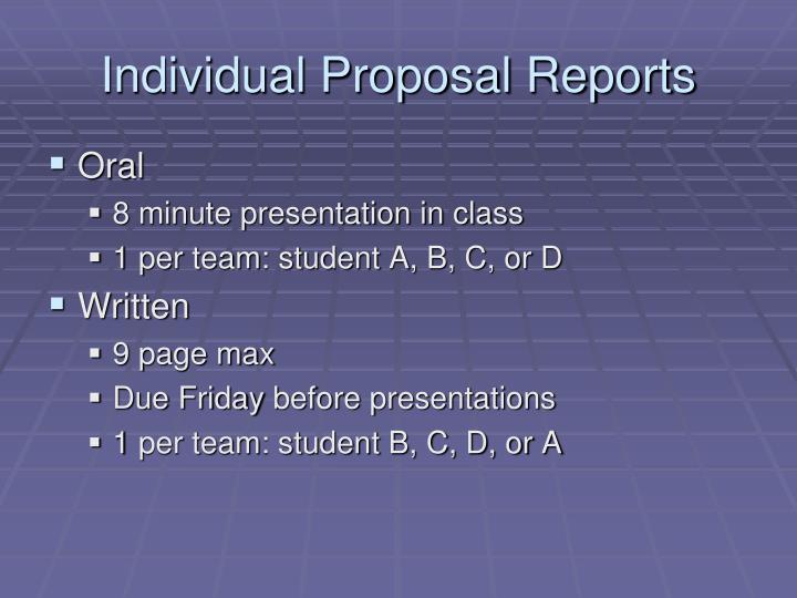 Individual Proposal Reports