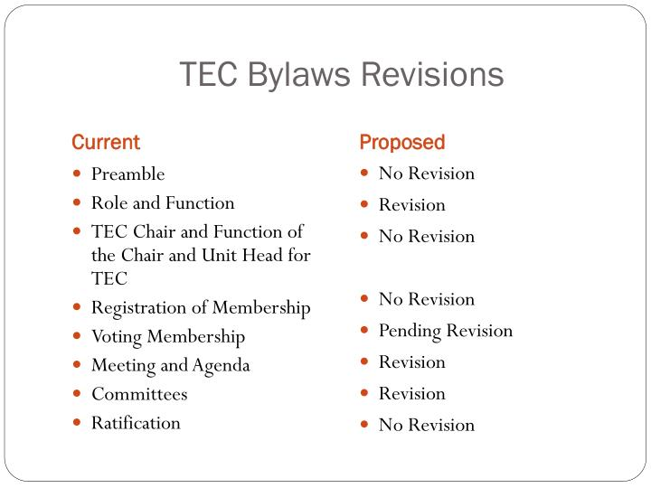TEC Bylaws Revisions