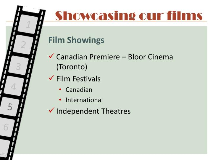 Showcasing our films