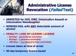 administrative license revocation failed test