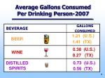 average gallons consumed per drinking person 2007
