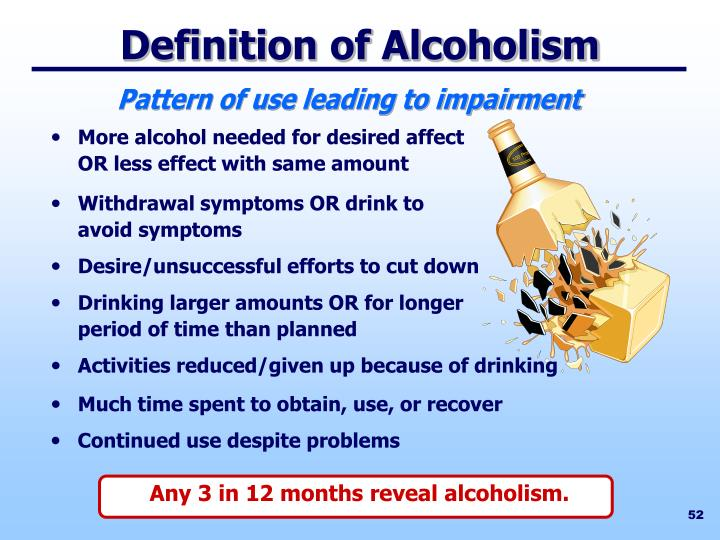 Any 3 in 12 months reveal alcoholism.