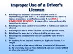 improper use of a driver s license
