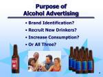 purpose of alcohol advertising