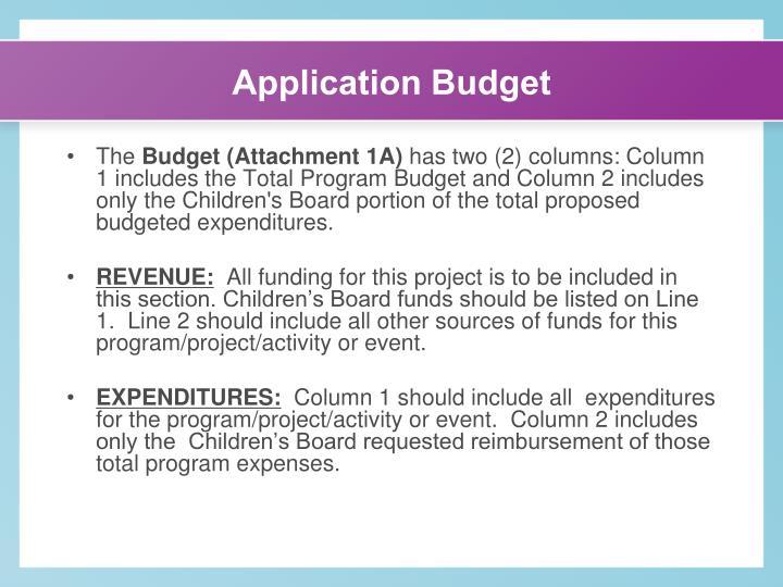 Application Budget