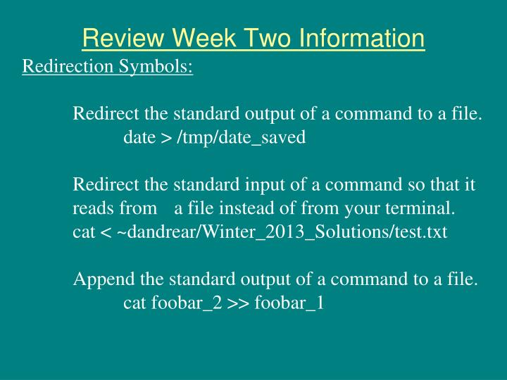 Review Week Two Information