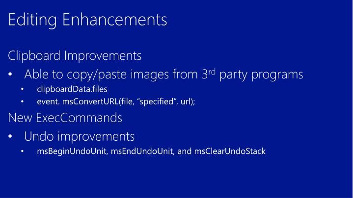 Editing Enhancements